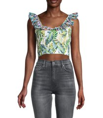 all things mochi women's leaf-print cropped top - green - size l