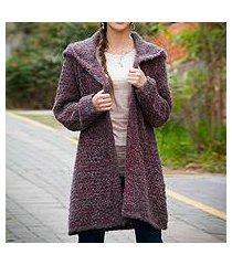 alpaca blend hooded sweater coat, 'misty rose' (peru)