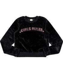 blusão lecimar tween em pelo sintético outono inverno preto