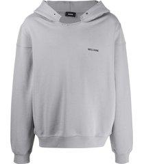 we11done distressed neck hoodie - grey