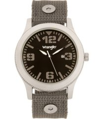 wrangler men's watch, 57mm silver colored case with black dial, black arabic numerals with white hands, green nylon strap with rivets, white second hand