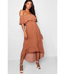 geweven maxi-jurk met print van polkastippen en boothals, chocolade