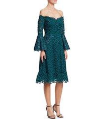 teri jon women's bell-sleeve off-the-shoulder lace dress - teal - size 4