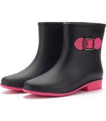 scarpe impermeabili slip sul caviglia pioggia bowknot color match boots