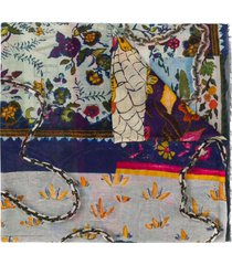 faliero sarti abstract flowers and chains printed cotton scarf - blue