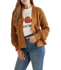 madewell bobble cardigan sweater, size large in antique gold at nordstrom
