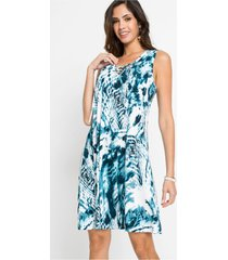 gebatikte jurk met vetersluiting