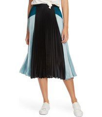 1.state colorblocked pleated midi skirt