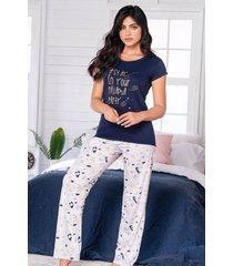 pijama mujer conjunto pantalón manga corta 11540