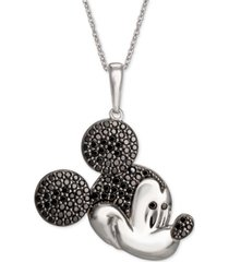 "disney black spinel micky mouse 18"" pendant necklace in sterling silver"