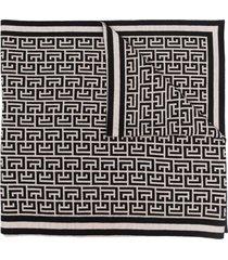 balmain merino monogram scarf