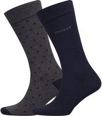 2-pack solid and dot socks underwear socks regular socks grå gant
