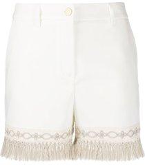 blumarine fringe hem shorts - white