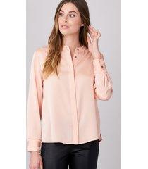 zijden blouse met mao kraag en fijne franjes aan de manchet.