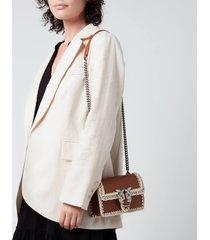 pinko women's love mini icon stitched shoulder bag - cognac