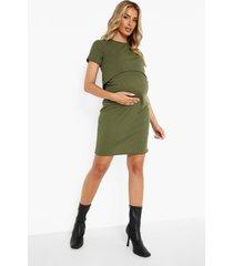 zwangerschap geribbelde borstvoeding bodycon jurk, black