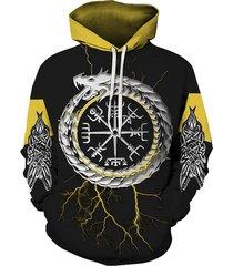 novelty graphic print pocket hoodie