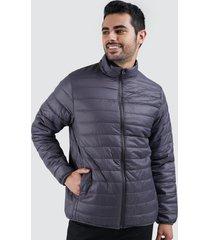 chaqueta acolchada con capota hombre color gris, talla l
