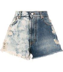 two-tone high waist denim shorts