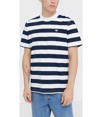adidas originals stripe tee t-shirts & linnen vit/randig