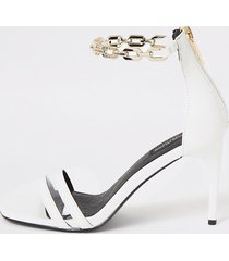 river island womens white chain ankle wide fit heeled sandals