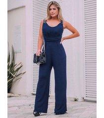 macacão longo pantalona viscolycra azul marinho