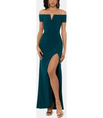x by xscape off-the-shoulder gown