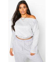 plus basic drop shoulder sweater met boothals, grijs gemêleerd