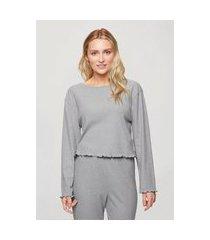 pijama longo feminino canelado linha noite ribana cinza