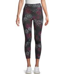 nanette lepore women's floral-print ankle-length leggings - black multi - size xl