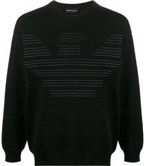 emporio armani ribbed logo print sweatshirt - black