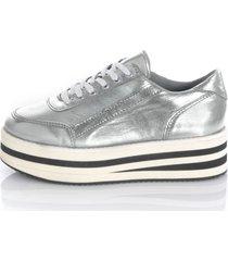 sneakers med randig platåsula alba moda silverfärgad