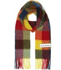 check fringe scarf