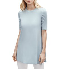 women's eileen fisher stretch tencel lyocell tunic, size large - blue