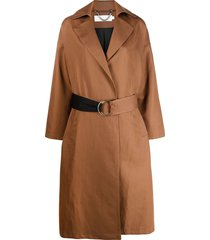 raquette two-tone-belt trench coat - brown