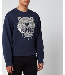 kenzo men's stitched tiger sweatshirt - navy blue - s