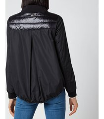 herno women's techno taffeta ultralight scarf detail short coat - black - it 44/uk 12