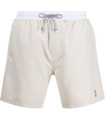brunello cucinelli embroidered logo swim shorts - neutrals