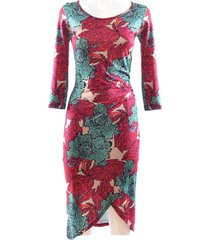 woman short dress with pink flower pattern