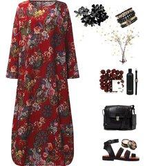 donna vintage maxi-abito sciolto lungo con stampa floreale a maniche lunghe