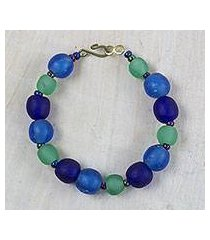 recycled glass and plastic beaded bracelet, 'blue novelty' (ghana)