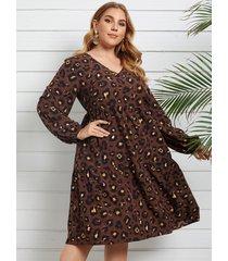 yoins plus talla midi de leopardo con cuello en v vestido