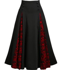 halloween skull lace insert lace-up mock button midi skirt