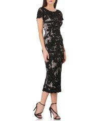 women's js collections soutache lace midi dress, size 10 - black