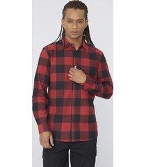 camisa franela cuadros rojo/negro corona