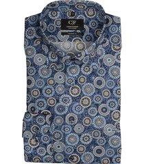 commander overhemd donkerblauw met print 213010574/600