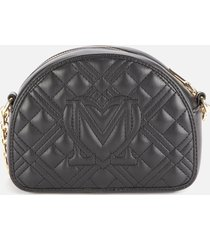 love moschino women's half dome quilted shoulder bag - black