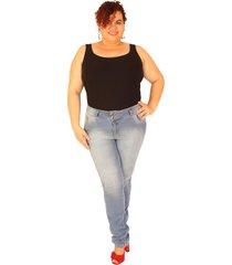 calã§a  jeans true e-motion skinny plus size jeans claro longa 92cm entrepernas - azul - feminino - dafiti