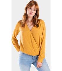 amalie surplice blouse - mustard