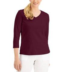 karen scott cotton v-neck top, created for macy's